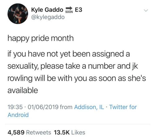 Android, Soon..., and Twitter: Kyle Gaddo SoN E3  @kylegaddo  happy pride month  if you have not yet been assigned a  sexuality, please take a number and jk  rowling will be with you as soon as she's  available  19:35 01/06/2019 from Addison, IL Twitter for  Android  4,589 Retweets 13.5K Likes