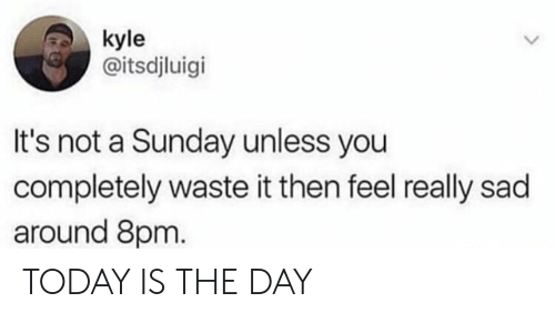 Today, Sunday, and Sad: kyle  @itsdjluigi  It's not a Sunday unless you  completely waste it then feel really sad  around 8pm TODAY IS THE DAY