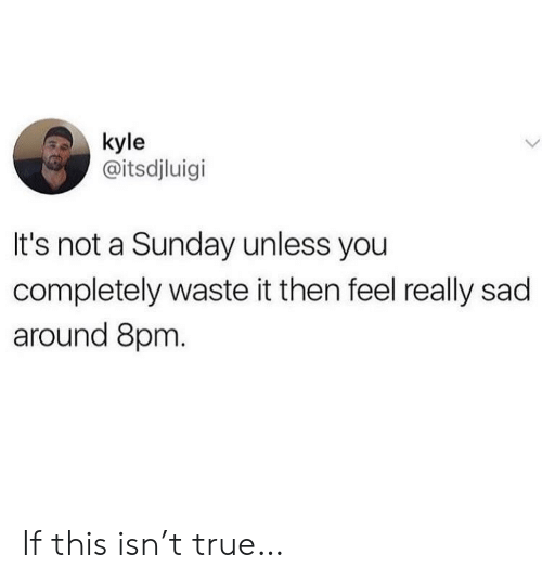 True, Sunday, and Sad: kyle  @itsdjluigi  It's not a Sunday unless you  completely waste it then feel really sad  around 8pm. If this isn't true…