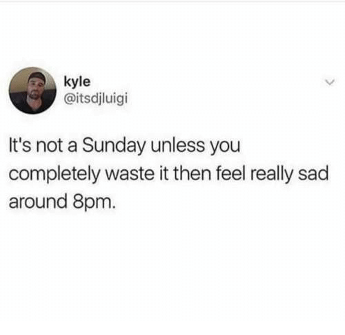 Sunday, Sad, and A Sunday: kyle  @itsdjluigi  It's not a Sunday unless you  completely waste it then feel really sad  around 8pm