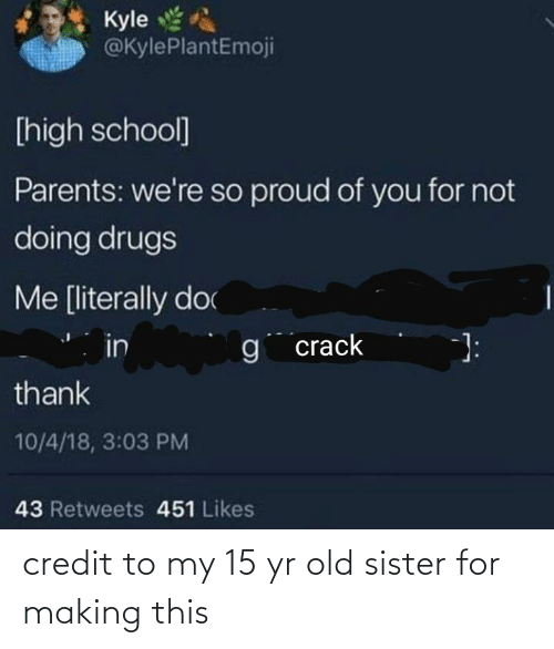 So Proud Of You: Kyle  @KylePlantEmoji  [high school]  Parents: we're so proud of you for not  doing drugs  Me [literally doc  in  g crack  thank  10/4/18, 3:03 PM  43 Retweets 451 Likes credit to my 15 yr old sister for making this
