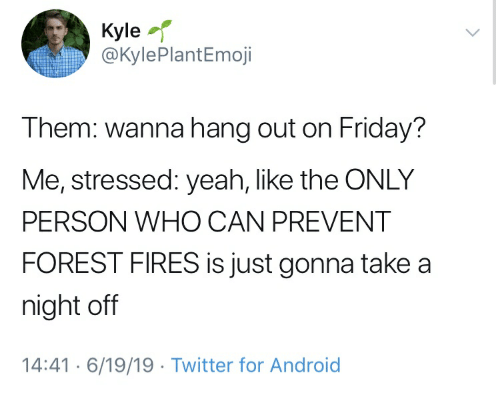 Android, Friday, and Twitter: Kyle  @KylePlantEmoji  Them: wanna hang out on Friday?  Me, stressed: yeah, like the ONLY  PERSON WHO CAN PREVENT  FOREST FIRES is just gonna take a  night off  14:416/19/19. Twitter for Android