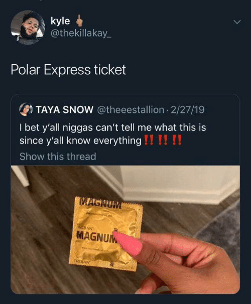 Ticket: kyle  @thekillakay_  Polar Express ticket  OTAYA SNOW @theeestallion 2/27/19  I bet y'all niggas can't tell me what this is  since y'all know everything !!!! !!  Show this thread  MAGNUM  IRDIAN  MAGNUM  TROJAN