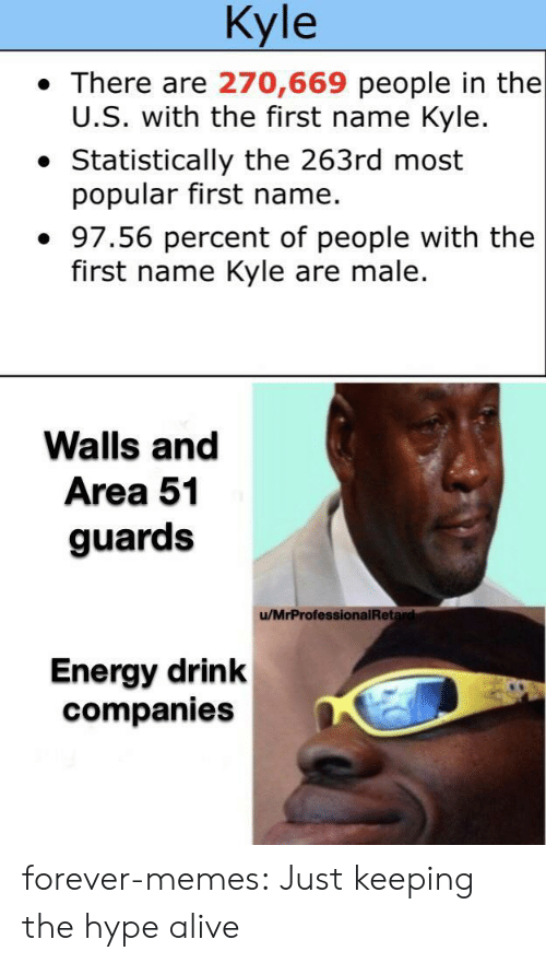 male: Kyle  There are 270,669 people in the  U.S. with the first name Kyle.  Statistically the 263rd most  popular first name.  97.56 percent of people with the  first name Kyle are male.  Walls and  Area 51  guards  /MrProfessionalRetard  Energy drink  companies forever-memes:  Just keeping the hype alive