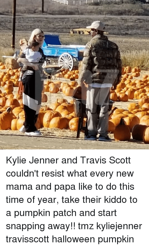 Halloween, Kylie Jenner, and Memes: Kylie Jenner and Travis Scott couldn't resist what every new mama and papa like to do this time of year, take their kiddo to a pumpkin patch and start snapping away!! tmz kyliejenner travisscott halloween pumpkin