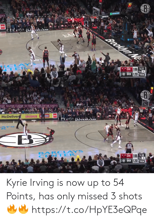 kyrie: Kyrie Irving is now up to 54 Points, has only missed 3 shots🔥🔥 https://t.co/HpYE3eQPqe
