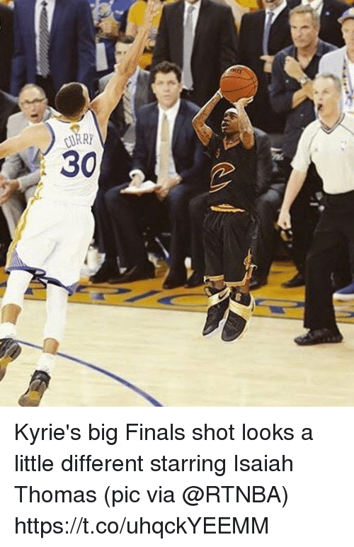 Finals, Sports, and Isaiah Thomas: Kyrie's big Finals shot looks a little different starring Isaiah Thomas   (pic via @RTNBA) https://t.co/uhqckYEEMM