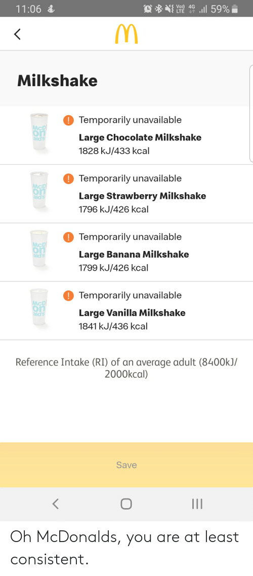 McDonalds, Banana, and Chocolate: l 59%  Vo) 4G  LTE  11:06  <  Milkshake  Temporarily unavailable  McD  on  ald's  Large Chocolate Milkshake  1828 kJ/433 kcal  Temporarily unavailable  McD  on  ald's  Large Strawberry Milkshake  1796 kJ/426 kcal  Temporarily unavailable  McD  on  ald's  Large Banana Milkshake  1799 kJ/426 kcal  Temporarily unavailable  McD  on  ald's  Large Vanilla Milkshake  1841 kJ/436 kcal  Reference Intake (RI) of an average adult (8400kJ/  2000kcal)  Save  II Oh McDonalds, you are at least consistent.
