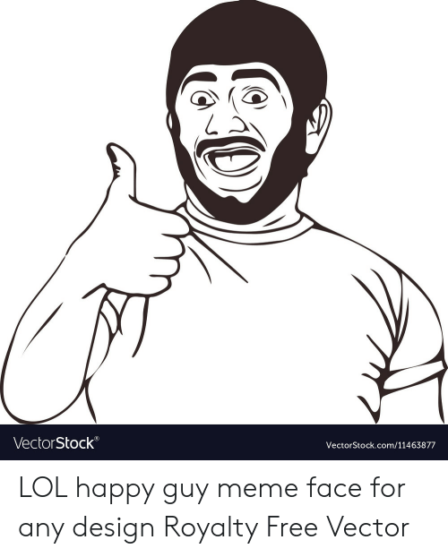 Lol, Meme, and Free: L A  VectorStock®  VectorStock.com/11463877 LOL happy guy meme face for any design Royalty Free Vector