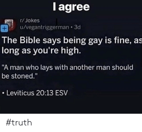 "Another Man: l agree  /Jokes  u/vegantriggerman 3d  The Bible says being gay is fine, as  long as you're high.  ""A man who lays with another man should  be stoned.""  Leviticus 20:13 ESV #truth"