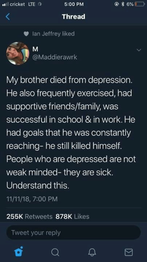 Family, Friends, and Goals: l cricket LTE  5:00 PM  Thread  Ian Jeffrey liked  @Maddierawrk  My brother died from depression  He also frequently exercised, had  supportive friends/family, was  successful in school & in work. He  had goals that he was constantly  reaching- he still killed himself.  People who are depressed are not  weak minded- they are sick.  Understand this  11/11/18, 7:00 PM  255K Retweets 878K Likes  Tweet your reply