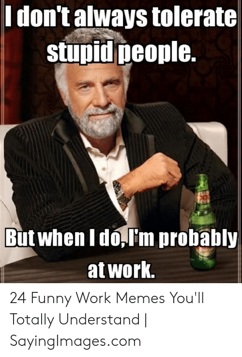 Funny Stress Memes: l don't always tolerate  stupid people.  But when I do,I'm probably  at work, 24 Funny Work Memes You'll Totally Understand | SayingImages.com