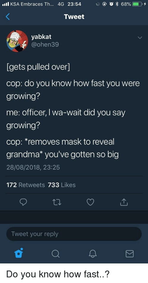 Grandma, Mask, and How: l KSA Embraces Th... 4G 23:54  Tweet  yabkat  @ohen39  Igets pulled over]  cop: do you know how fast you were  growing?  me: officer, I wa-wait did you say  growing?  cop: *removes mask to reveal  grandma* you've gotten so big  28/08/2018, 23:25  172 Retweets 733 Likes  Tweet your reply Do you know how fast..?