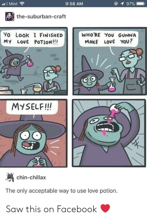 Gunna: l Mint  9:58 AM  1 97%  the-suburban-craft  Yo Look I FINISHED  MY LovE POTION!!!  WHO'RE You GUNNA  MAKE LOVE YOU?  MYSELF!IN  chin-chillax  The only acceptable way to use love potion. Saw this on Facebook ❤️