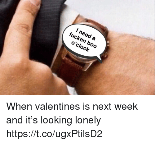 Boo, Funny, and Looking: l need a  fucken boo  o'clock When valentines is next week and it's looking lonely https://t.co/ugxPtilsD2