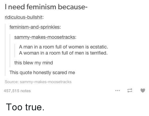 Memes, Scare, and Bullshit: l need feminism because-  ridiculous-bullshit  feminism-and-sprinkles  Sammy makes moosetracks:  A man in a room full of women is ecstatic.  A woman in a room full of men is terrified.  this blew my mind  This quote honestly scared me  Source: sammy-makes-moose tracks  457,515 notes Too true.