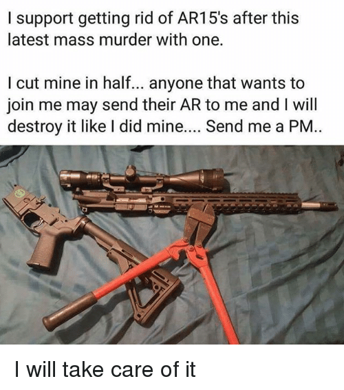 Memes, join.me, and Murder: l support getting rid of AR15's after this  latest mass murder with one.  I cut mine in half.. anyone that wants to  join me may send their AR to me and I will  destroy it like I did mine.... Send me a PM I will take care of it
