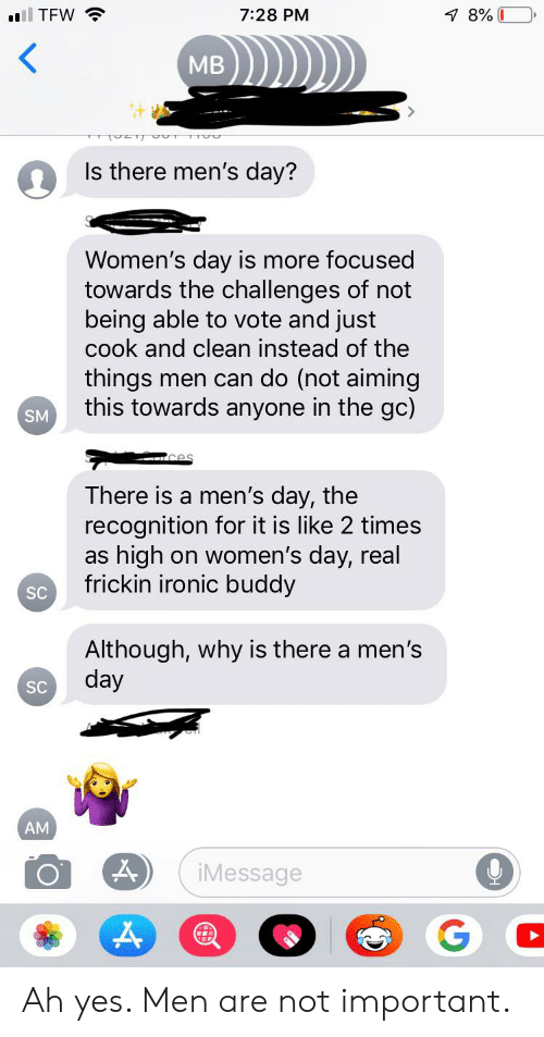 Ironic, Tfw, and Tumblr: l TFW  7 8% 0  7:28 PM  MB  Is there men's day?  Women's day is more focused  towards the challenges of not  being able to vote and just  cook and clean instead of the  things men can do (not aiming  this towards anyone in the gc)  SM  There is a men's day, the  recognition for it is like 2 times  as high on women's day, real  frickin ironic buddy  SC  Although, why is there a men's  day  SC  AM  iMessage Ah yes. Men are not important.