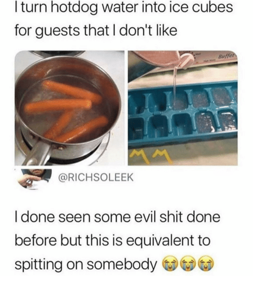 Shit, Water, and Evil: l turn hotdog water into ice cubes  for guests that I don't like  Buffet  @RICHSOLEEK  I done seen some evil shit done  before but this is equivalent to  spitting on somebody