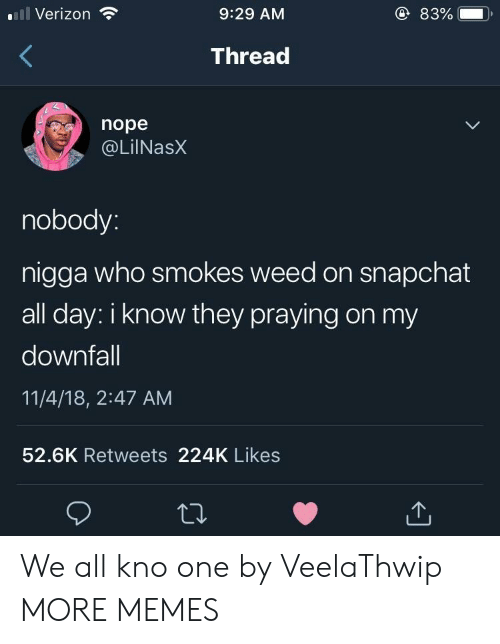 Dank, Memes, and Snapchat: l Verizon  9:29 AM  83%  ),  Thread  nope  @LilNasX  nobody  nigga who smokes weed on snapchat  all day: i know they praying on my  downfall  11/4/18, 2:47 AM  52.6K Retweets 224K Likes We all kno one by VeelaThwip MORE MEMES