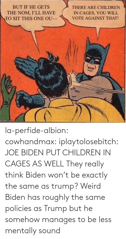 In Class: la-perfide-albion:  cowhandmax:  iplaytolosebitch:   JOE BIDEN  PUT CHILDREN IN CAGES  AS WELL     They really think Biden won't be exactly the same as trump? Weird  Biden has roughly the same policies as Trump but he somehow manages to be less mentally sound