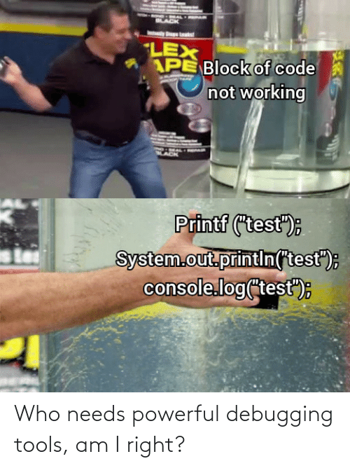 "console: LACK  LEX  APE Block of code  not working  Printf (""test"");  System.out.printin(test"");  console.log(test"")E Who needs powerful debugging tools, am I right?"