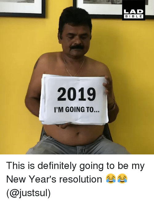 Definitely, Memes, and 🤖: LAD  BIBL E  2019  I'M GOING TO. This is definitely going to be my New Year's resolution 😂😂 (@justsul)