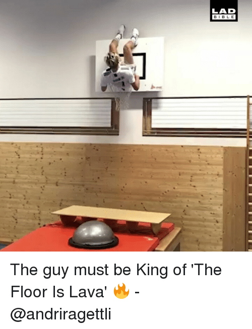 Memes, 🤖, and King: LAD  BIBL E The guy must be King of 'The Floor Is Lava' 🔥 - @andriragettli