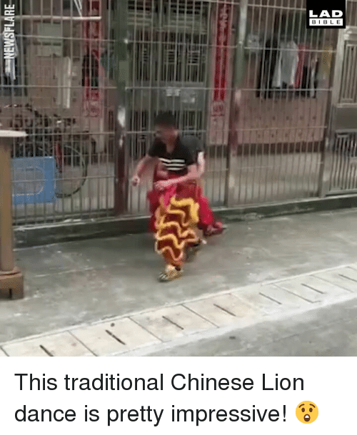 Memes, Chinese, and Lion: LAD  BIBL E This traditional Chinese Lion dance is pretty impressive! 😲