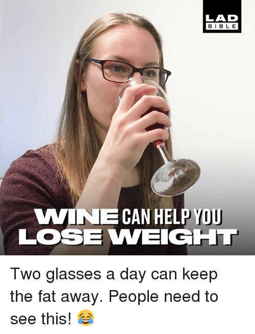 Memes, Wine, and Glasses: LAD  BIBL E  WINE CAN HELP YOU  LOSE VWEIGHL Two glasses a day can keep the fat away. People need to see this! 😂