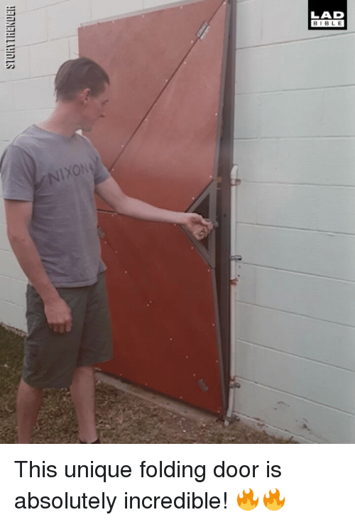 Memes, 🤖, and Door: LAD  BIBL E  XON This unique folding door is absolutely incredible! 🔥🔥