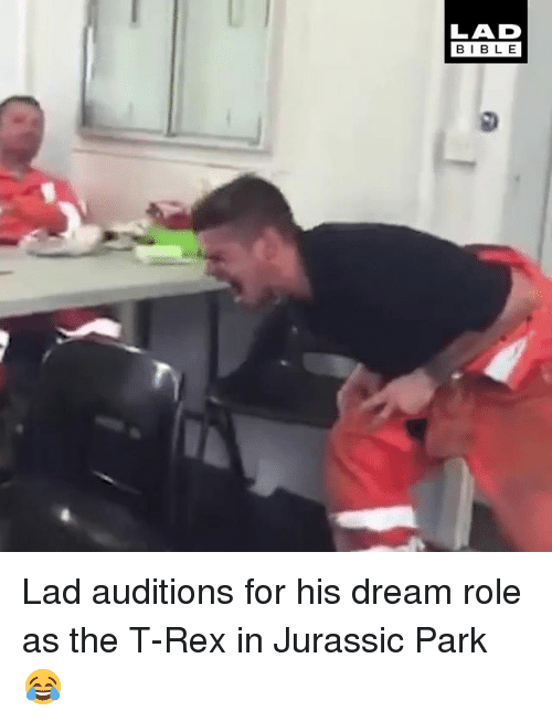 Jurassic Park, Memes, and Bible: LAD  BIBLE  BIBL E Lad auditions for his dream role as the T-Rex in Jurassic Park 😂