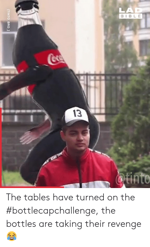 Dank, Revenge, and Bible: LAD  BIBLE  Coca  13  ATAY  Qtinto  TINTO BRO The tables have turned on the #bottlecapchallenge, the bottles are taking their revenge 😂