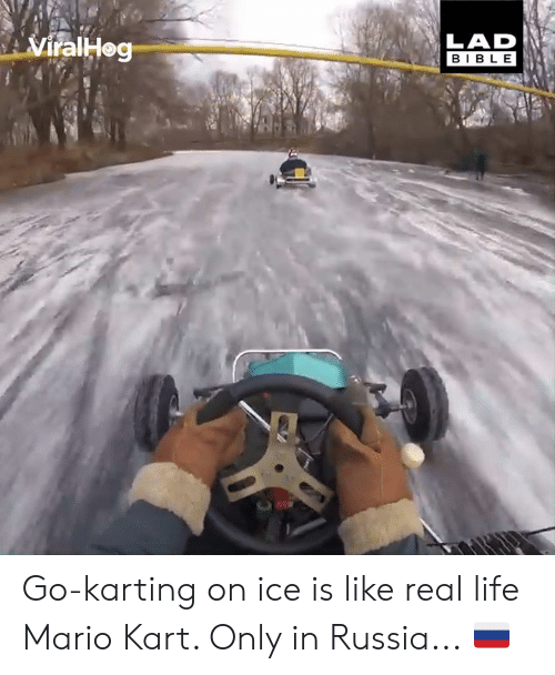 Dank, Life, and Mario Kart: LAD  BIBLE Go-karting on ice is like real life Mario Kart. Only in Russia... 🇷🇺🧊