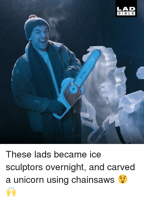 Memes, Bible, and Unicorn: LAD  BIBLE These lads became ice sculptors overnight, and carved a unicorn using chainsaws 😲🙌