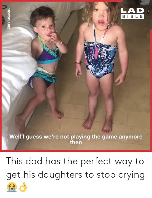 Crying, Dad, and Dank: LAD  BIBLE  Well t guess we're not playing the game anymore  then  [NEWSFLARE This dad has the perfect way to get his daughters to stop crying 😭👌
