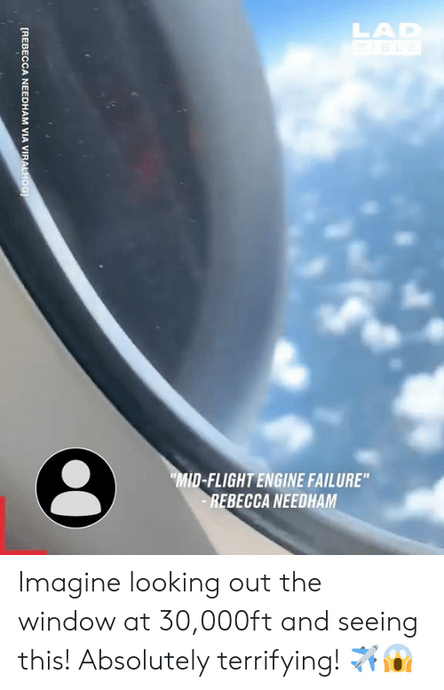 "Dank, Flight, and Failure: LAD  BLE  MID-FLIGHT ENGINE FAILURE""  REBECCA NEEDHAM  [REBECCA NEEDHAM VIA VIRALHOG Imagine looking out the window at 30,000ft and seeing this! Absolutely terrifying! ✈️😱"
