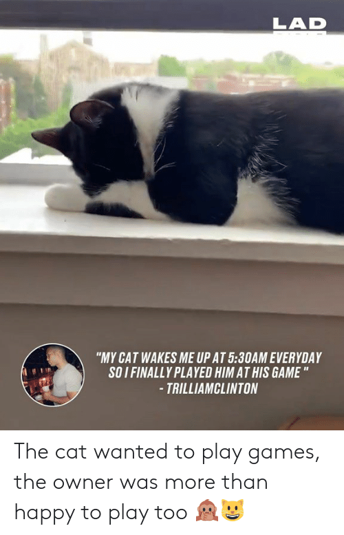 """Dank, Game, and Games: LAD  """"MY CAT WAKES ME UP AT 5:30AM EVERYDAY  SOI FINALLY PLAYED HIM AT HIS GAME """"  -TRILLIAMCLINTON The cat wanted to play games, the owner was more than happy to play too 🙊😺"""