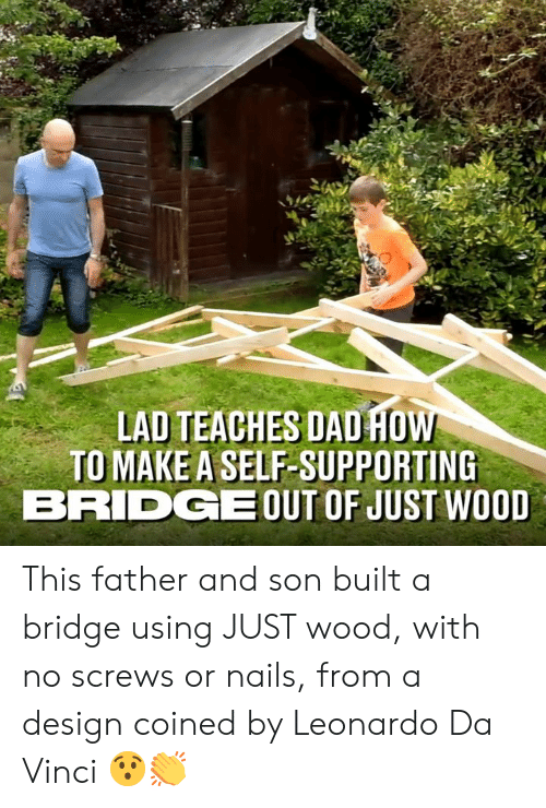 Dad, Dank, and Leonardo Da Vinci: LAD TEACHES DAD HO  TO MAKE A SELF-SUPPORTING  BRIDGEOUT OF JUST WOOD This father and son built a bridge using JUST wood, with no screws or nails, from a design coined by Leonardo Da Vinci 😯👏
