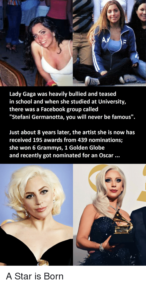 "Facebook, Grammys, and Lady Gaga: Lady Gaga was heavily bullied and teased  in school and when she studied at University,  there was a Facebook group called  ""Stefani Germanotta, you will never be famous"".  Just about 8 years later, the artist she is now has  received 195 awards from 439 nominations;  she won 6 Grammys, 1 Golden Globe  and recently got nominated for an Oscar A Star is Born"