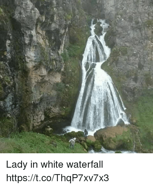 White, Faces-In-Things, and Lady: Lady in white waterfall https://t.co/ThqP7xv7x3