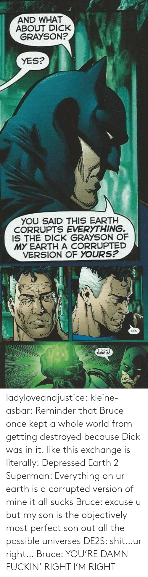 Version: ladyloveandjustice:  kleine-asbar: Reminder that Bruce once kept a whole world from getting destroyed because Dick was in it. like this exchange is literally: Depressed Earth 2 Superman: Everything on ur earth is a corrupted version of mine it all sucks Bruce: excuse u but my son is the objectively most perfect son out all the possible universes DE2S: shit…ur right… Bruce: YOU'RE DAMN FUCKIN' RIGHT I'M RIGHT