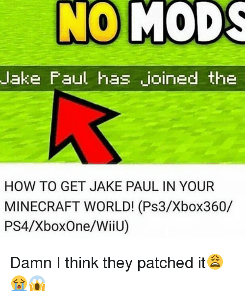lakings: lake Faul has joined the  HOW TO GET JAKE PAUL IN YOUR  MINECRAFT WORLD! (Ps3/Xbox360/  PS4/XboxOne/WiiU) Damn I think they patched it😩😭😱