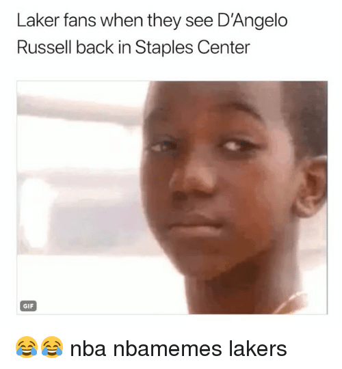 laker: Laker fans when they see D'Angelo  Russell back in Staples Center  GIF 😂😂 nba nbamemes lakers