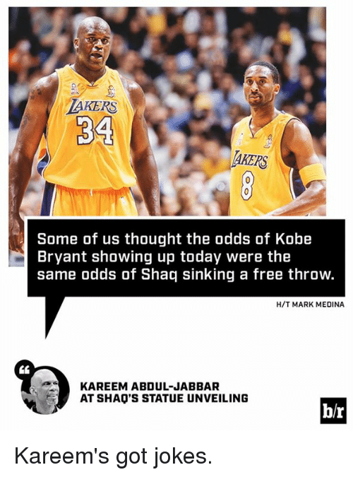 Kobe Bryant, Los Angeles Lakers, and Shaq: LAKERS  34  Some of us thought the odds of Kobe  Bryant showing up today were the  same odds of Shaq sinking a free throw.  H/T MARK MEDINA  KAREEM ABDUL-JABBAR  AT SHAO'S STATUE UNVEILING  br Kareem's got jokes.