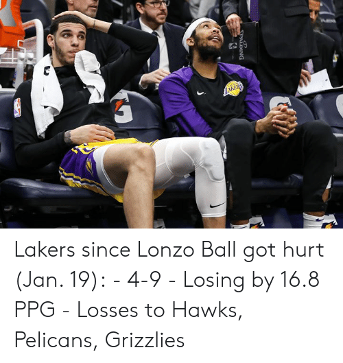 Losses: Lakers since Lonzo Ball got hurt (Jan. 19):  - 4-9 - Losing by 16.8 PPG - Losses to Hawks, Pelicans, Grizzlies