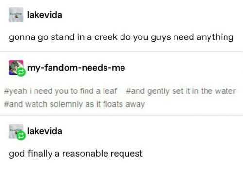 God, Yeah, and Watch: lakevida  gonna go stand in a creek do you guys need anything  my-fandom-needs-me  #yeah i need you to find a leaf  #and gently set it in the water  #and watch solemnly as it floats away  lakevida  god finally a reasonable request