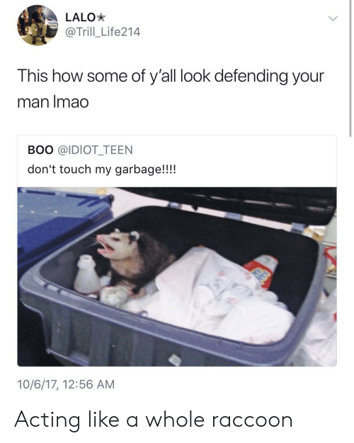 Boo, Raccoon, and Acting: LALO*  @Trill_Life214  This how some of y'all look defending your  man Imado  BOO @IDIOT TEEN  don't touch my garbage!!!!  10/6/17, 12:56 AM Acting like a whole raccoon