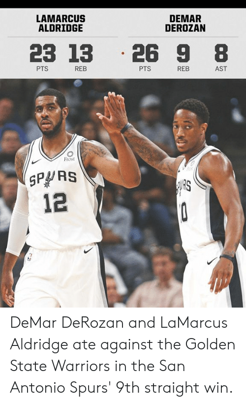 DeMar DeRozan, Golden State Warriors, and Memes: LAMARCUS  ALDRIDGE  DEMAR  DEROZAN  23 13 .26 9 8  PTS  REB  PTS  REB  AST  Frost  SPPRS  12  RS DeMar DeRozan and LaMarcus Aldridge ate against the Golden State Warriors in the San Antonio Spurs' 9th straight win.