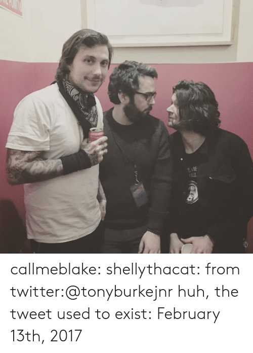 Huh, Tumblr, and Twitter: LAME  ILL callmeblake:  shellythacat: from twitter:@tonyburkejnr huh, the tweet used to exist:February 13th, 2017